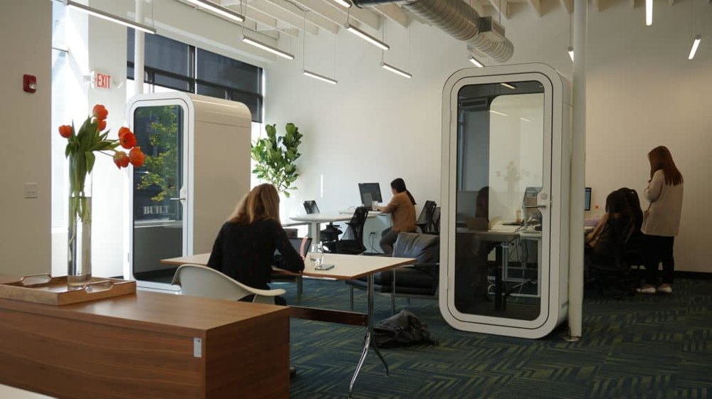 BUILT's two phone booths on the ground floor. Great acoustic isolation without claustrophobia.