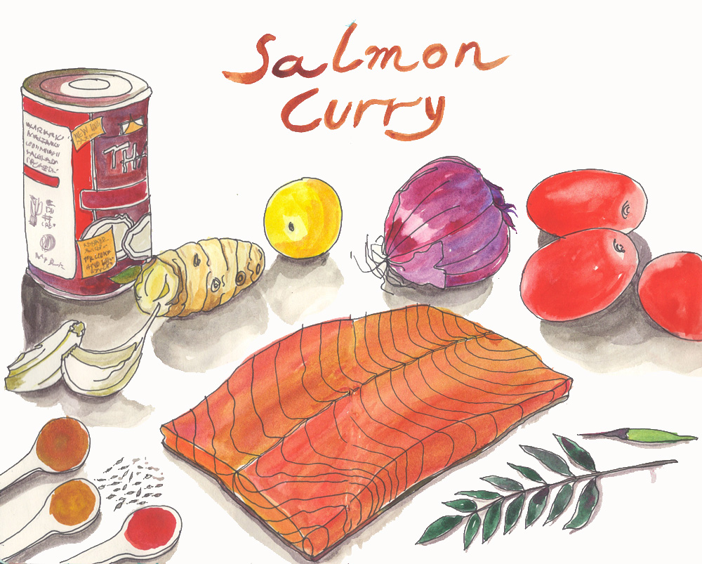 ingredients for a spicy salmon curry