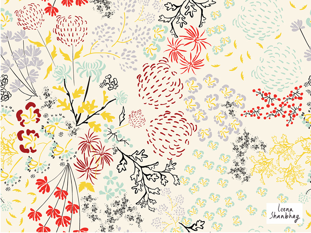 A ditsy floral pattern on a cream background