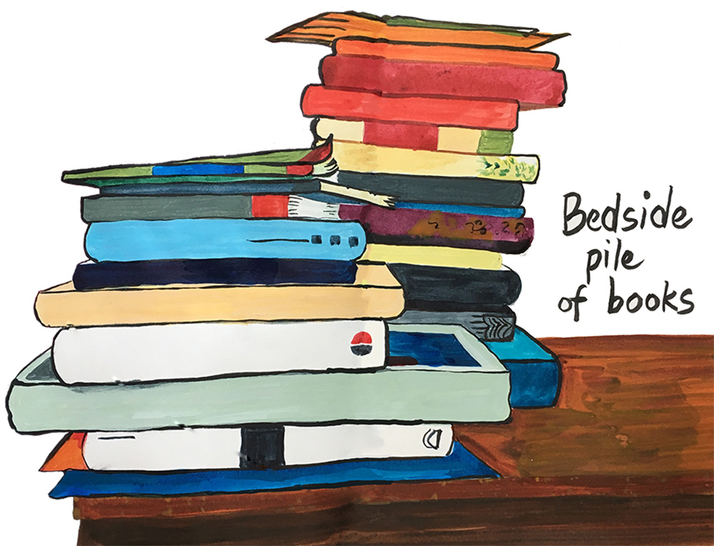 Illustration of Bedside pile of books in gouache