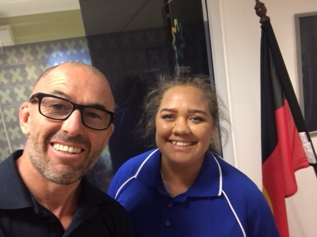 PSGH W.A. Manager Justin Gallagher and Mickaela Mongoo in Meekathara