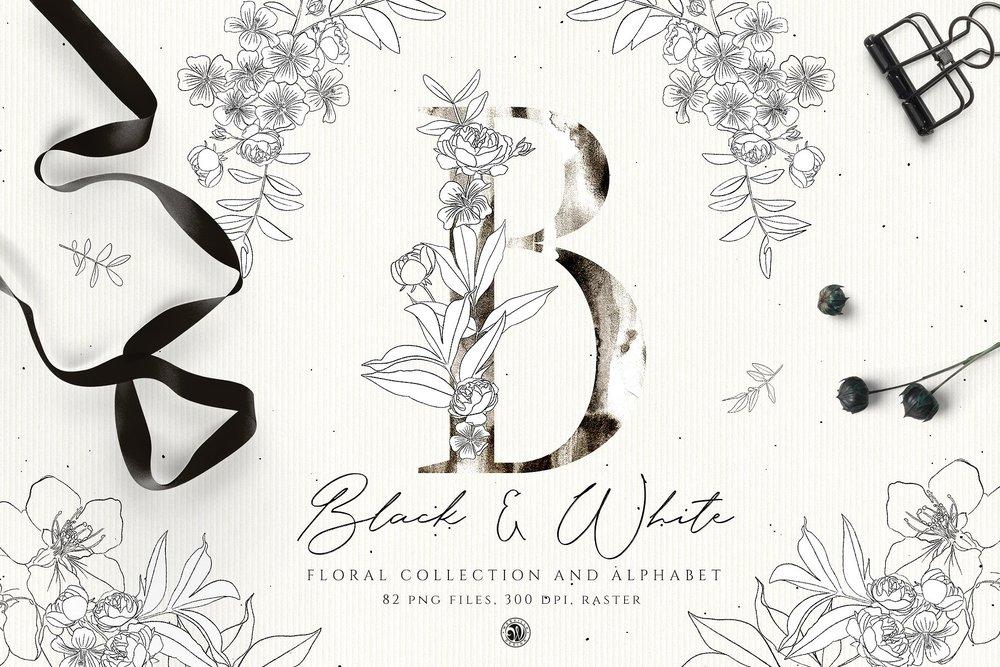 Black & White Flowers - Price $14