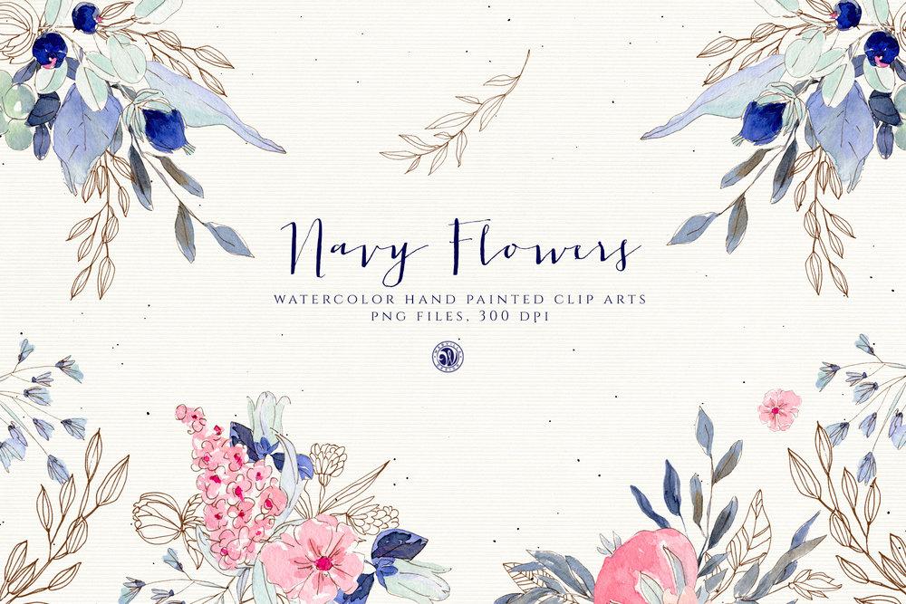 Navy Flowers - Price $12