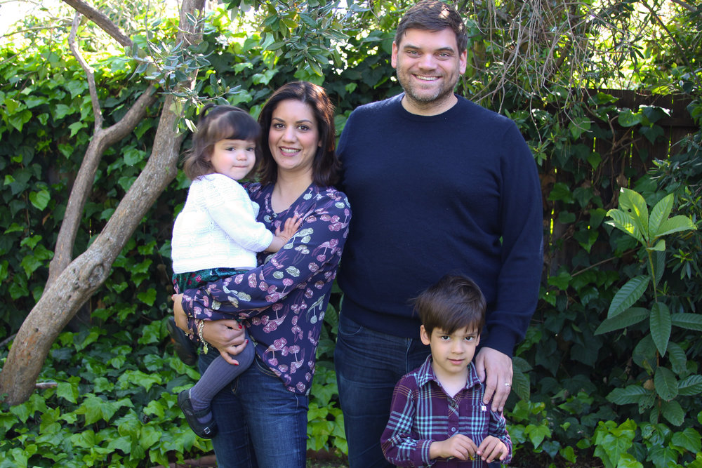 Reena with her husband Adam, daughter Chloe (2), and son Oliver (4)
