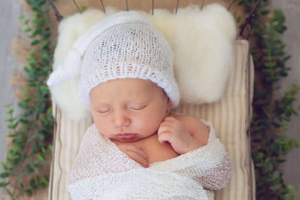 newborn photography of baby girl, from montclair new jersey, in a tiny bed with a sleepy hat on