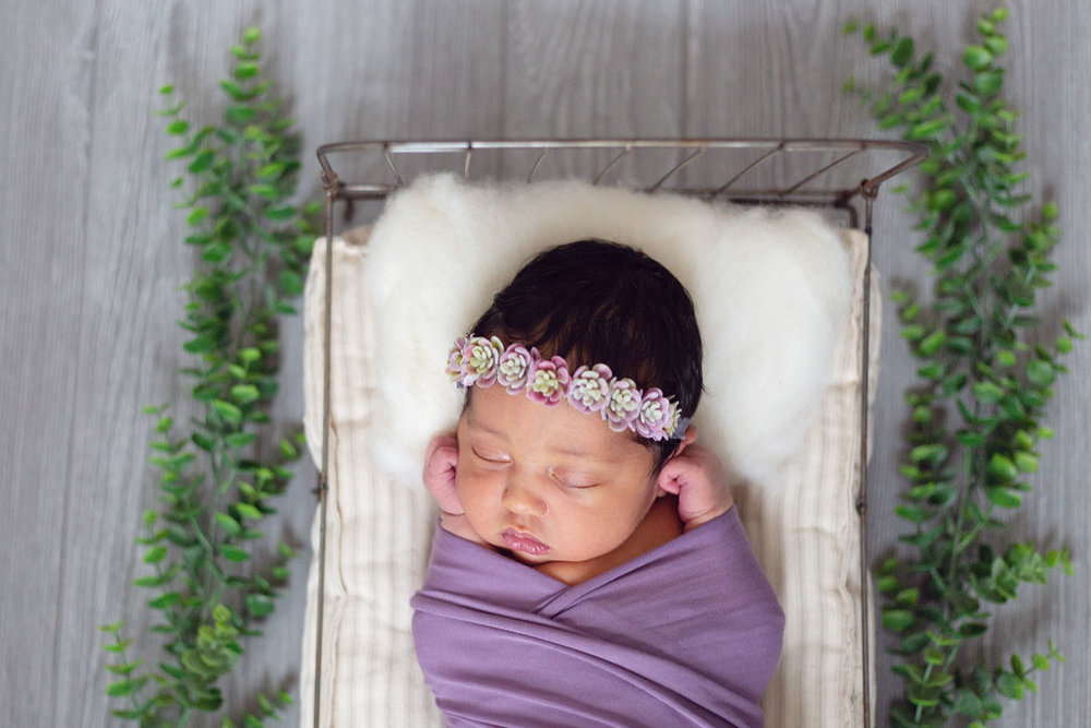 professional baby photograph of a girl in a tiny bed in nutley new jersey