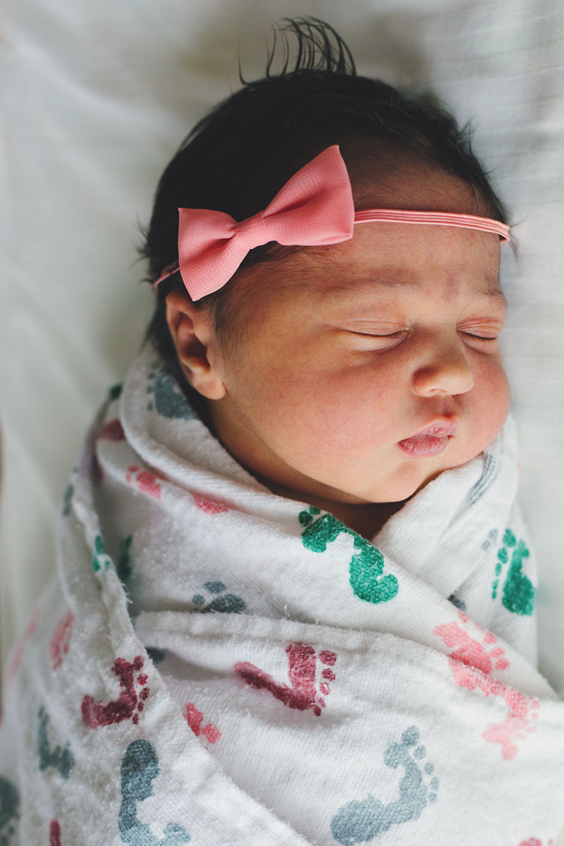 Fresh 48 Newborn Photography of baby girl in Valley Hospital in New Jersey