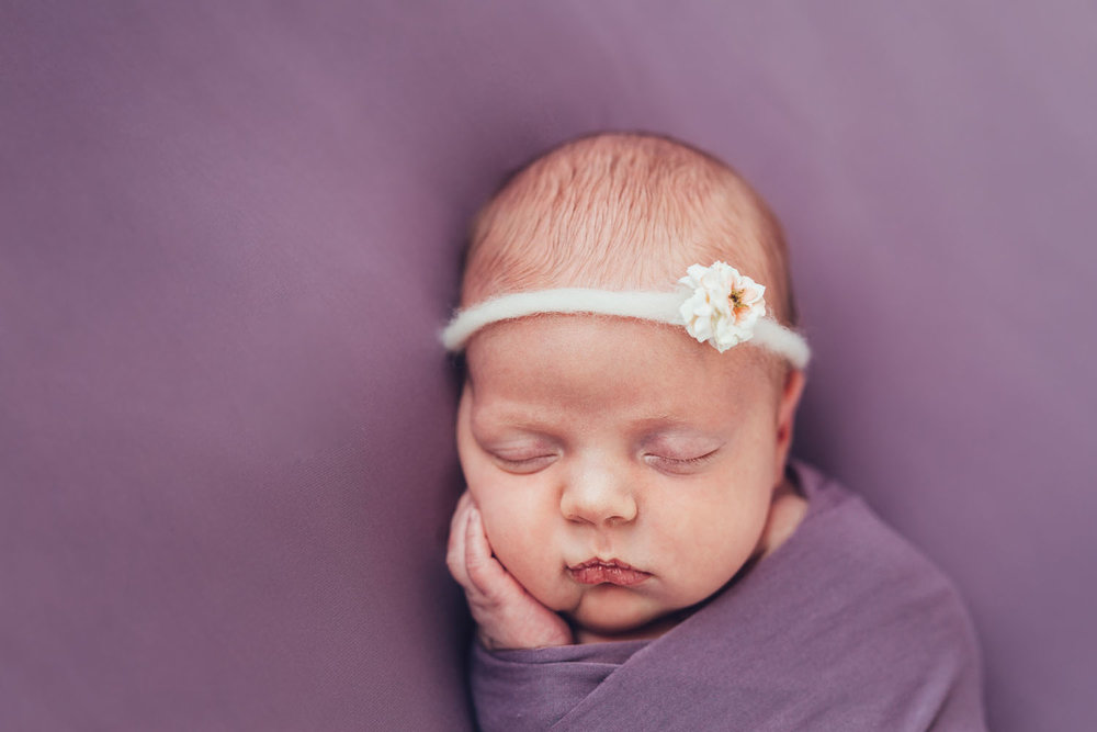 Newborn photography in rutherford nj of a sleeping baby girl