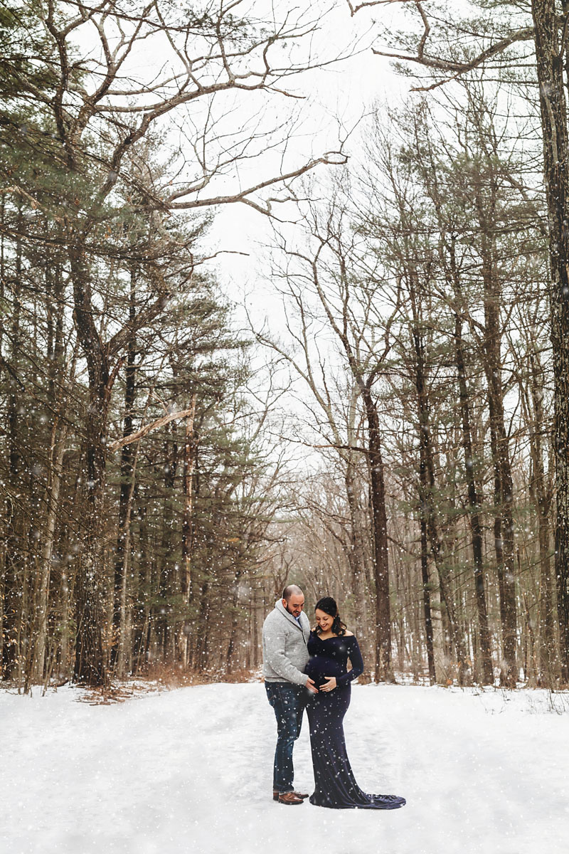 Winter Maternity Session in the snow in New Jersey