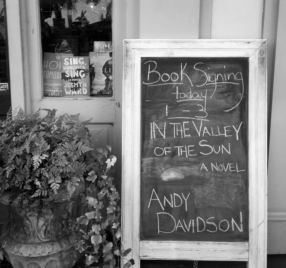 At one of our favorite bookstores in Savannah.