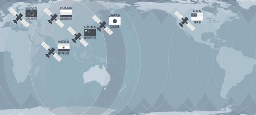Schematic showing the six global satellite positioning systems, which together have more than 80 satellites orbiting the Earth. Image: Geoscience Australia