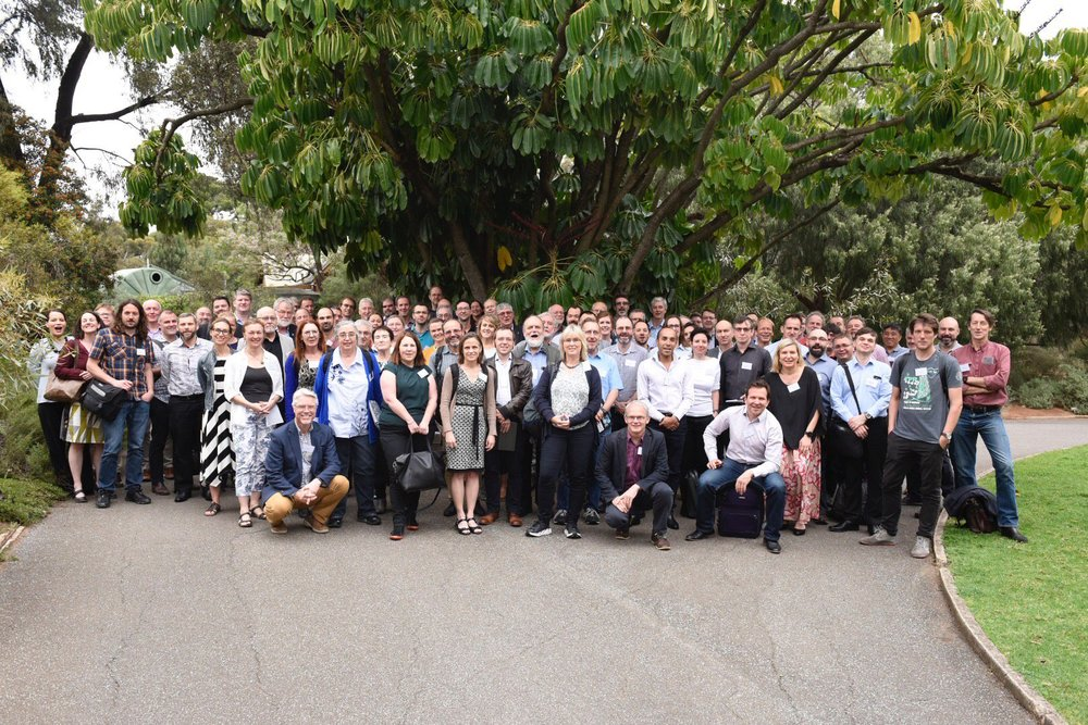 Here's the team of researchers from Australia's Earth and Environmental Science communities pausing in Adelaide's Botanical Gardens between think tank sessions at AuScope's Strategy Workshop in October. Image: © AuScope 2018.