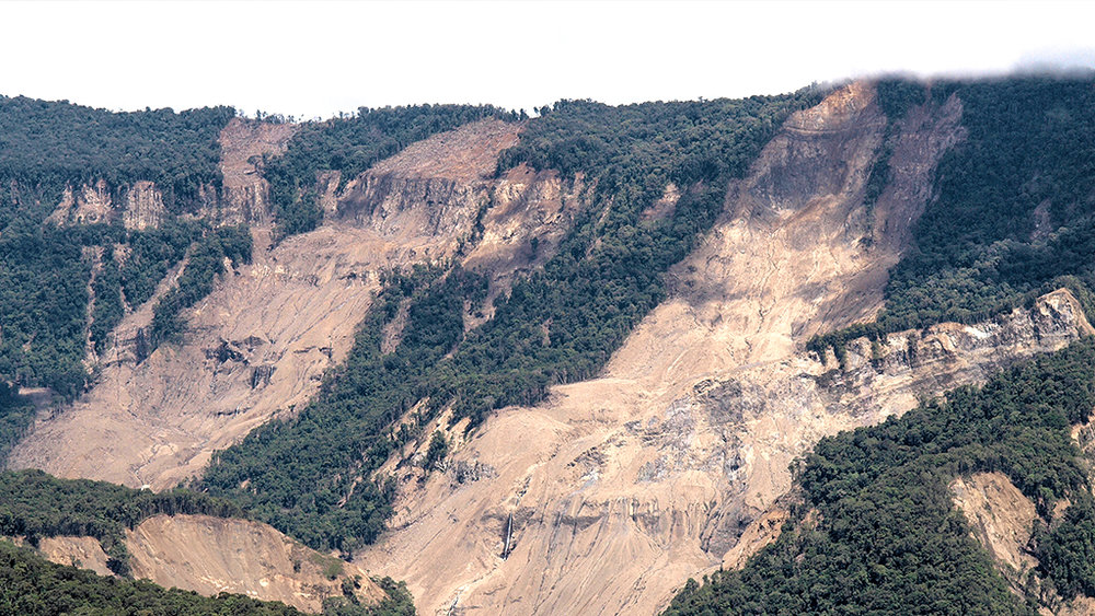 Landslides caused by PNG's magnitude 7.5 earthquake in February 2018. Image: ©Gary Gibson