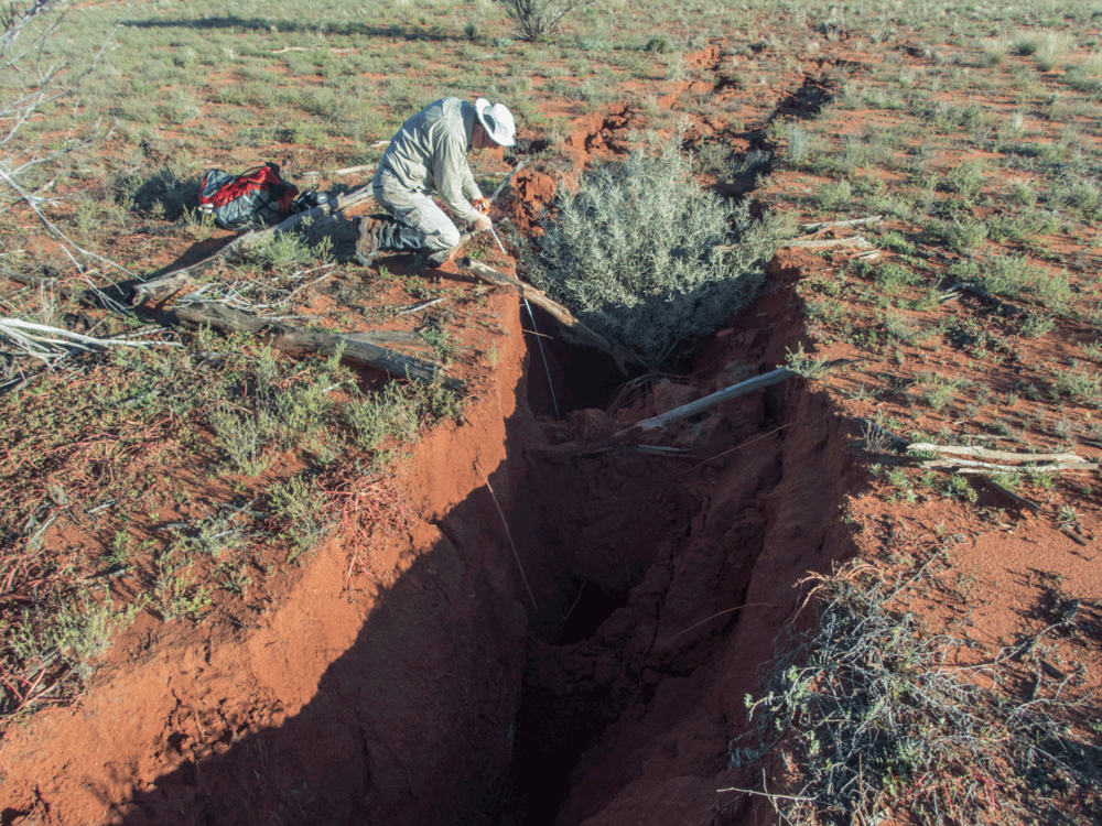 Cracking along the fault Scarp, Petermann Ranges resulting from the Mw6.0 earthquake of 2016. Image:    Dr. Dan Clark   , Geoscience Australia.