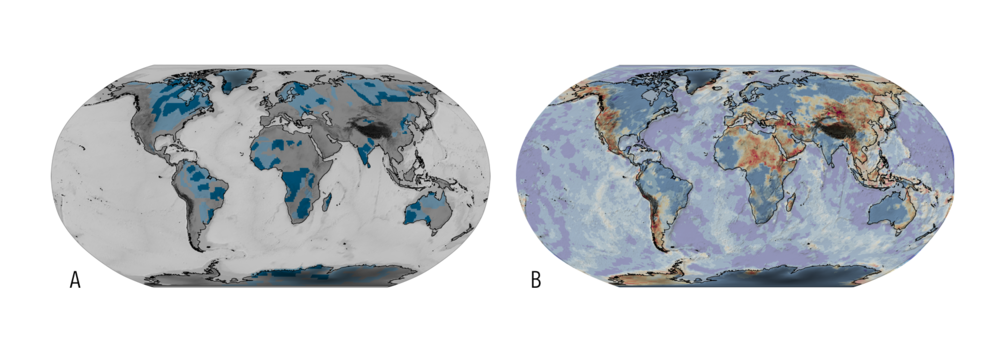 (A) Map of the Archean Cratonic crust (dark blue) identified from the Crust 1.0 and paleoproterozoic crust in pale blue. (B) A map of the relative thickness of crust to lithosphere (also from Crust 1.0) which tends to pick stable zones in blue shades from deforming zones in red.