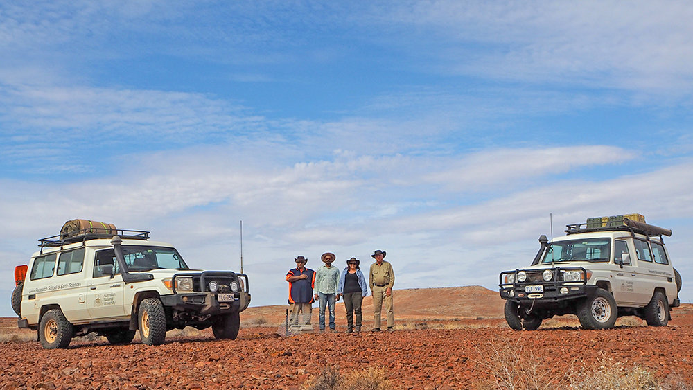 Field crew–left to right: Armando Arcidiaco, Rajesh Erigela, Dr. Michelle Salmon and Geoff Luton at the last seismic station at the eastern end of the array. Image: Dr. Michelle Salmon