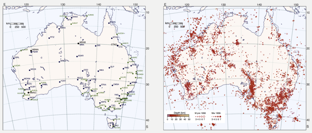 Distribution of AuSIS seismometers (left) and earthquakes across Australia from historical and instrumental catalogues (right). Image: © ANU, 2018 .