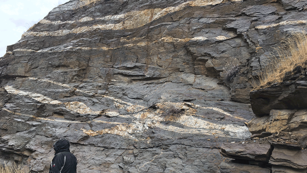 Outcrop of Cretaceous-aged high-grade magmatic paragneiss (Swakane Gneiss) within the North Casacades crystalline core, with geologist for scale. Image: Dr Simon Johnson.