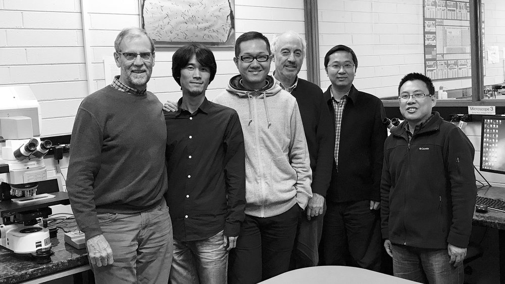 Researchers at the Fission Track Thermochronology Laboratory at the University of Melbourne, from left to right: Prof Andy Gleadow, Mr. Jianzhang Pang, Mr. Peng Gao, Prof Barry Kohn, Dr. Liangbiao Lin, Dr. Zhanghuang Ye. Image: Prof. Andy Gleadow.