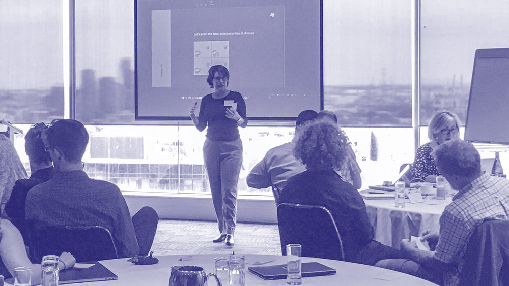Dr. Andrea Codd  from the University of Queensland pitches an idea for digital infrastructure investment. Image: ©Auscope 2019.