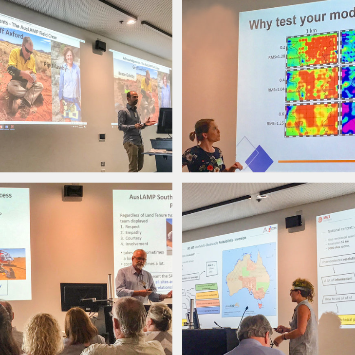 Government, academia and industry coming together at the AusLAMP Workshop in February 2019. Pictured (clockwise from top left): presenters Dr. Stephan Thiel, Dr. Kate Robertson, Dr. Bruce Goleby, and Macquarie University PHD candidate Maria Manassero. Images:    Dr Kate Robertson    and    Dr Kate Selway   .