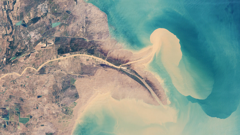 China's Huang He (Yellow River) is the most sediment-filled river on Earth. Image:    NASA
