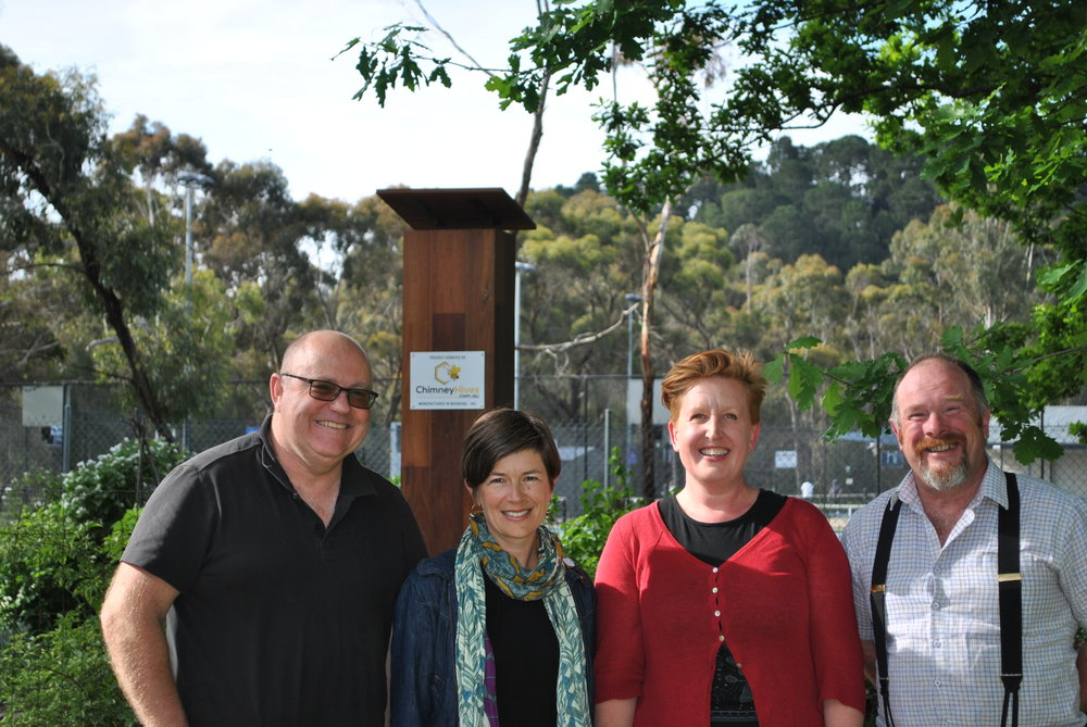 New portfolio holders (L to R): Peter Lane (Vice-President), Claire Rowland (Leader - Vegetarian action group), Lisa Richards (Leader - Waste action group), and David Gormley-O'Brien (President)