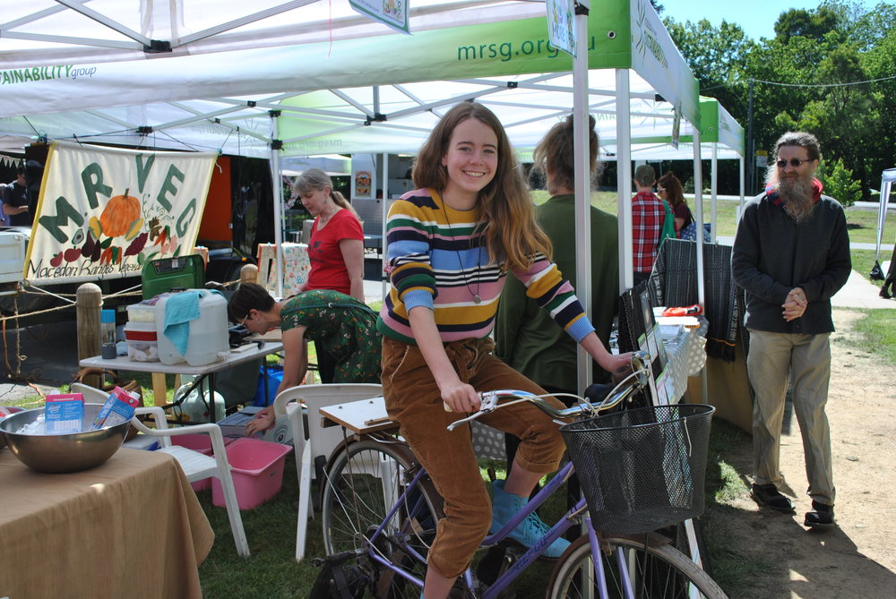 Pedaling smoothies at the Woodend Community Farmers' Market
