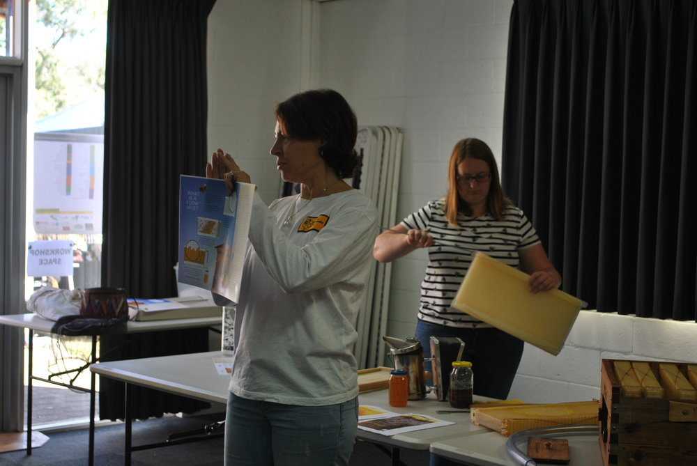 Sally and Shelly from Woodend Bee-Friendly Society running a workshop on the flow-hive