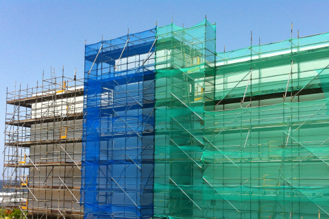 Scaffold and high visibility safety netting...