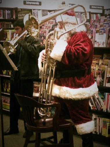 Playing cimbasso as Santa Claus, 2008