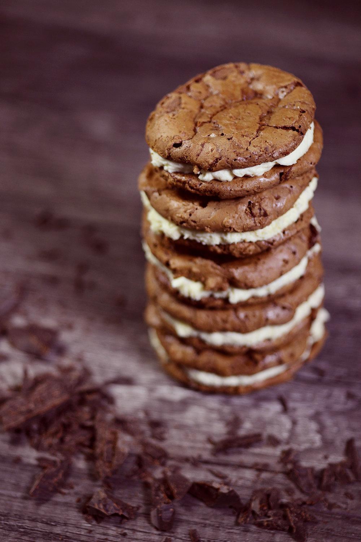 Chocolate brownie cookie stack