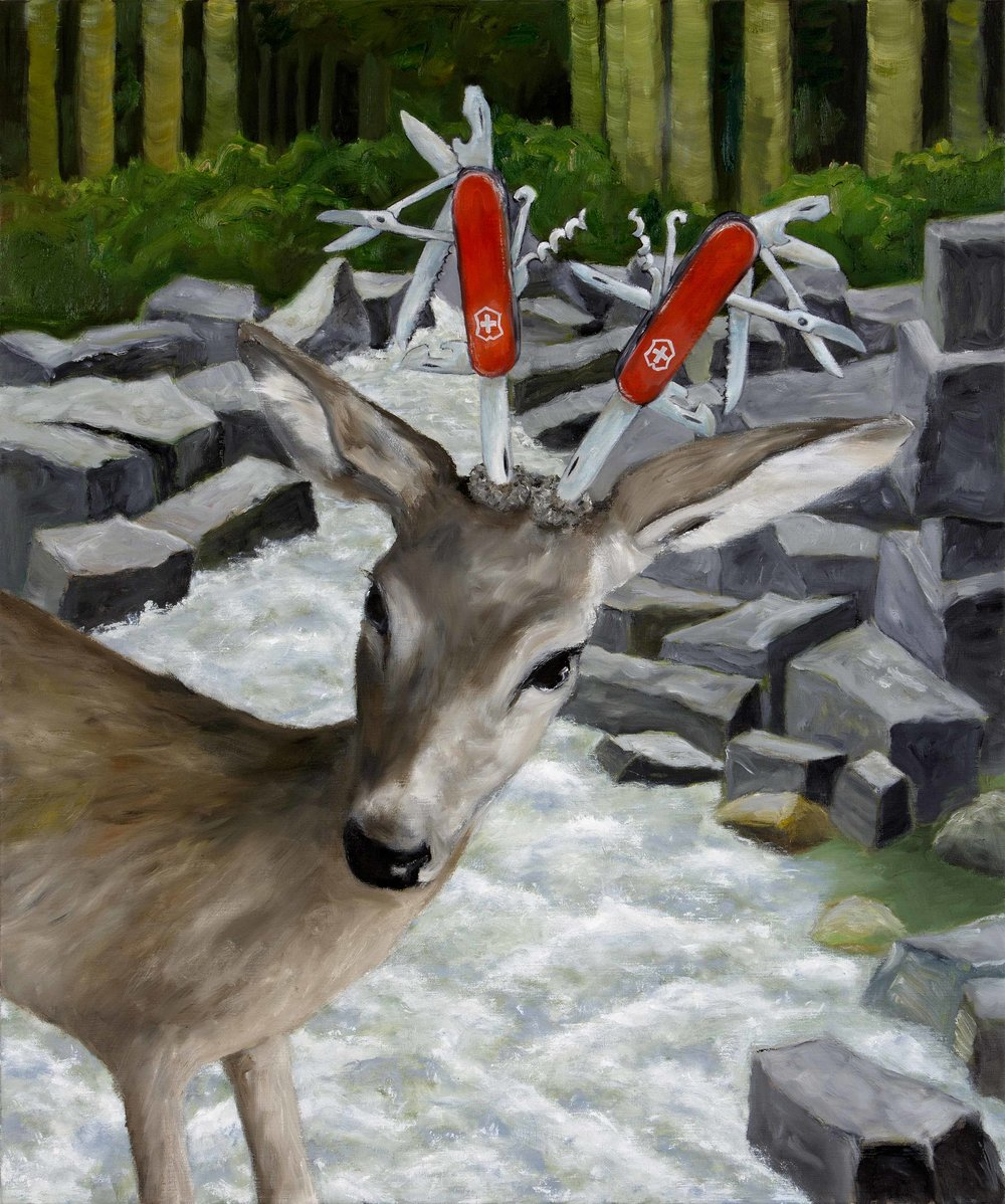 Scenery with deer   2015  oil on canvas  100 x 120 cm  private collection
