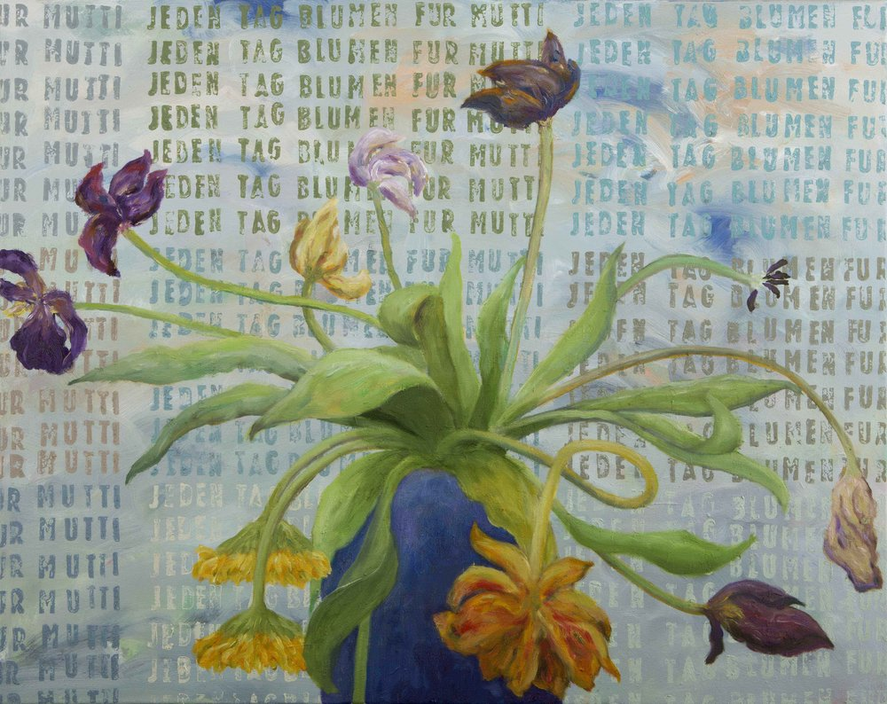 JEDEN TAG BLUMEN FUR MUTTI   2014  oil on canvas  80 x 100 cm  private collection