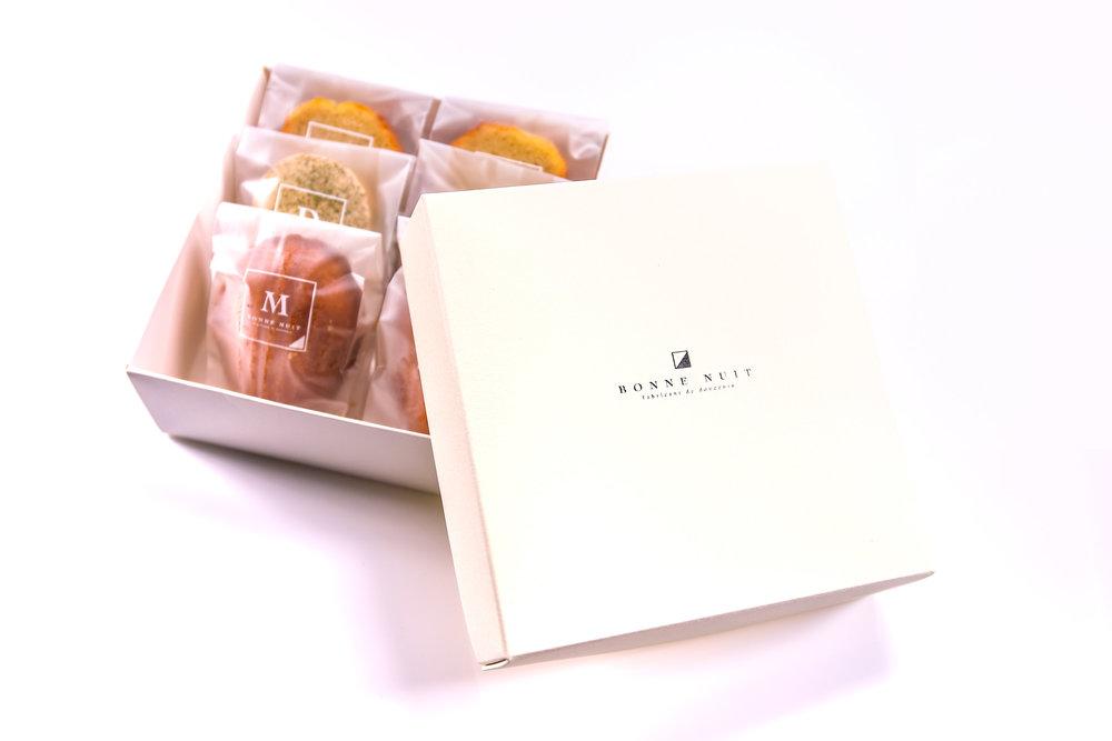 和煦禮盒390/盒 栗子磅蛋糕兩個/鹹蛋瑪德蓮兩個/抹茶達克瓦茲兩個