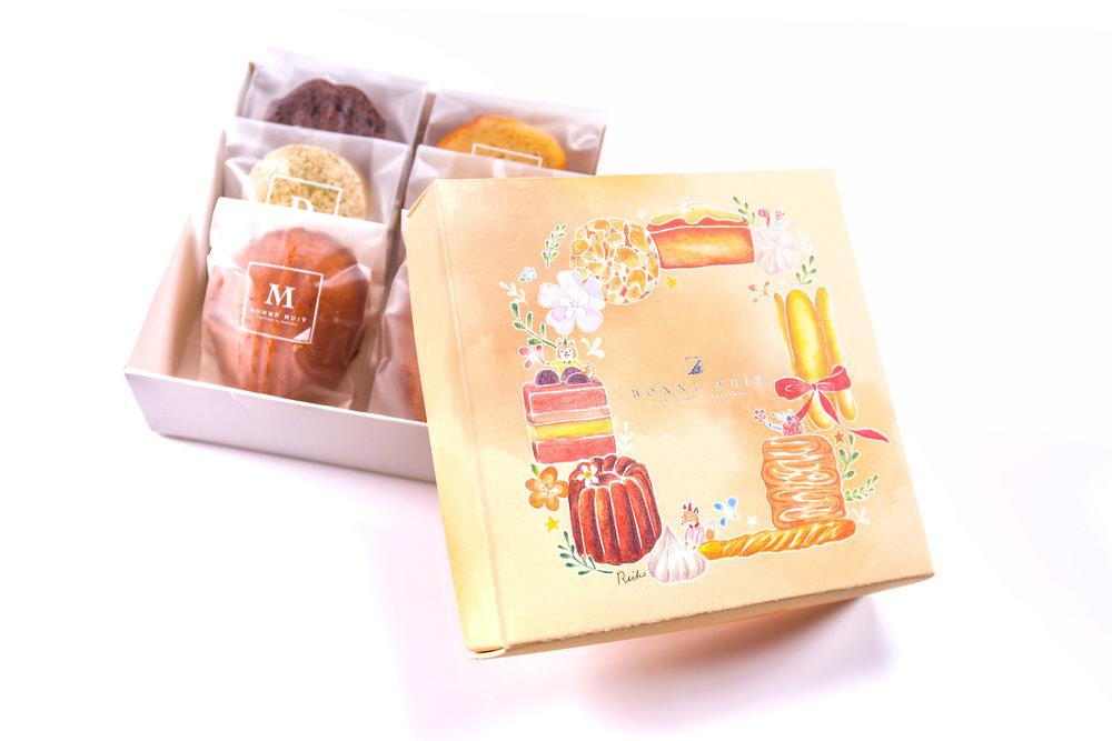 秋聚禮盒420/盒 栗子磅蛋糕/法芙娜巧克力磅蛋糕/鹹蛋瑪德蓮/奶油伯爵茶瑪德蓮/抹茶達克瓦茲/原味達可瓦茲