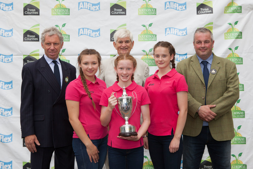 Winning the Pig section and then the overall points trophy for the event was the Massey Divas team of Grace Bretherton, Charlotte and Eve Ashcroft, photographed alongside Royal Smithfield Club Chairman William Bedell, RSC's Phil Henshaw and Event Chairman Neil Lloyd.
