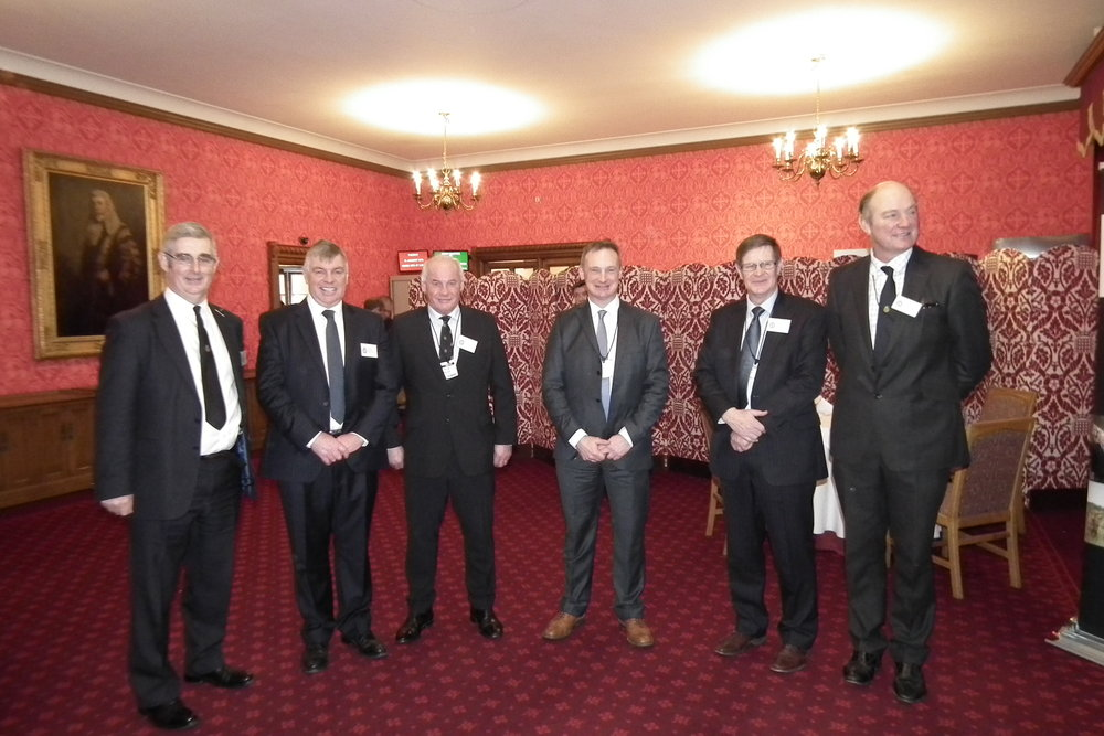Speakers at the Smithfield Forum were (L-R) John Dracup Industry Strategy Director Royal Smithfield Club, Nick Allen Director British Meat Processors Association, David Gunner Chief Executive Dovecote Park, David Hall North West Regional Director NFU, Donald Biggar Club Trustee, Neil Gourlay Club Trustee