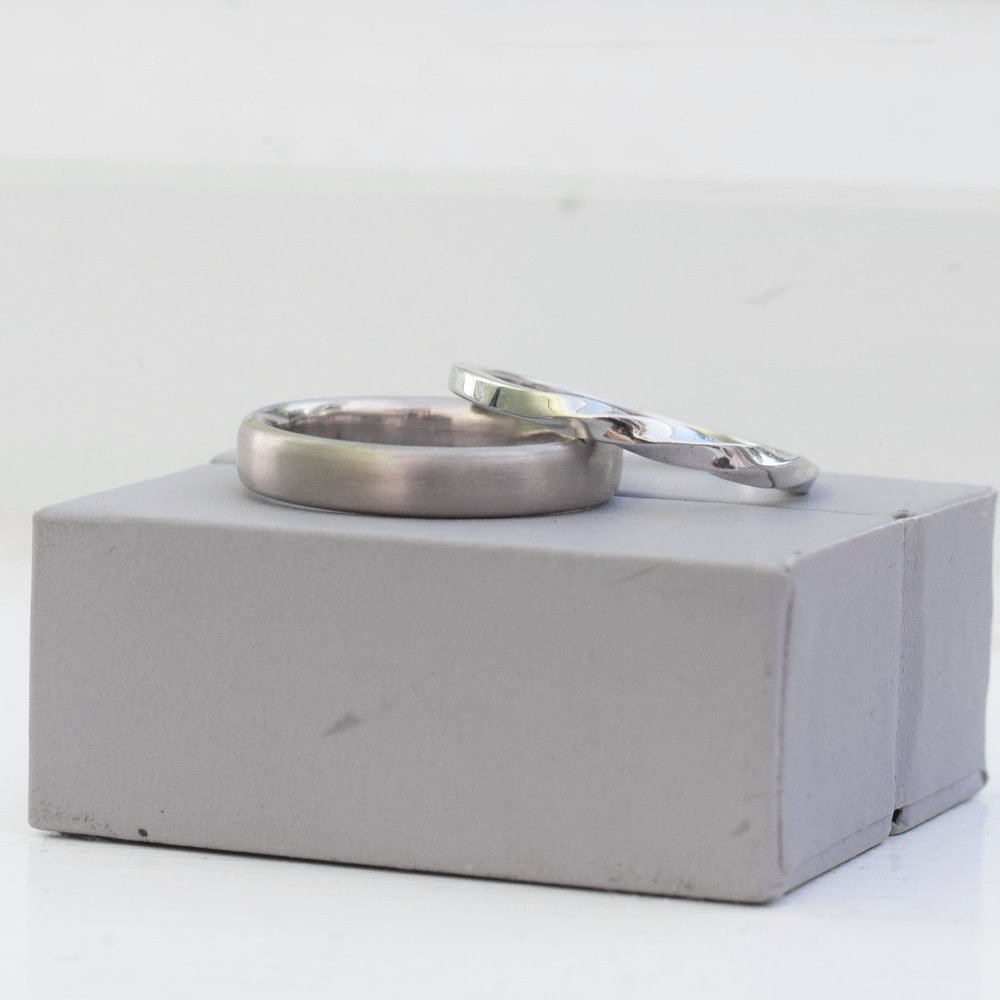 18ct White Gold & Twisted Platinum Wedding Bands