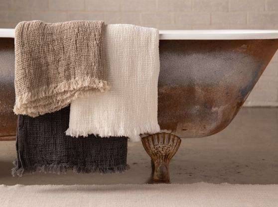 4. TEXTURED TOWELS  Say goodbye to white fluffy hotel style towels, that stain easily and opt for organic linen and cotton waffle towels. Add a mix of textures and colours to create a dramatic feel.  WE LOVE:  FLOCCA  |  AURA  |  FACE TOWEL  |