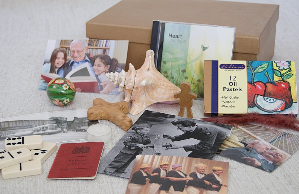 Well Being Boxes - Well being boxes support spiritual well being in care homes. They help a person with dementia to connect with their life story as well as to enjoy being in the present moment. The Life History Booklet has ideas on the types of meaningful and spiritually enriching objects, photos, music, literature and art materials people might like to put in their box.