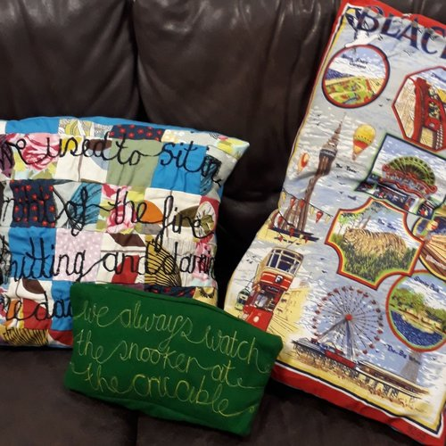 Story Cushions - Brighten up the living space. We will use recycled fabrics, buttons and thread to make cushions that tell people's stories.