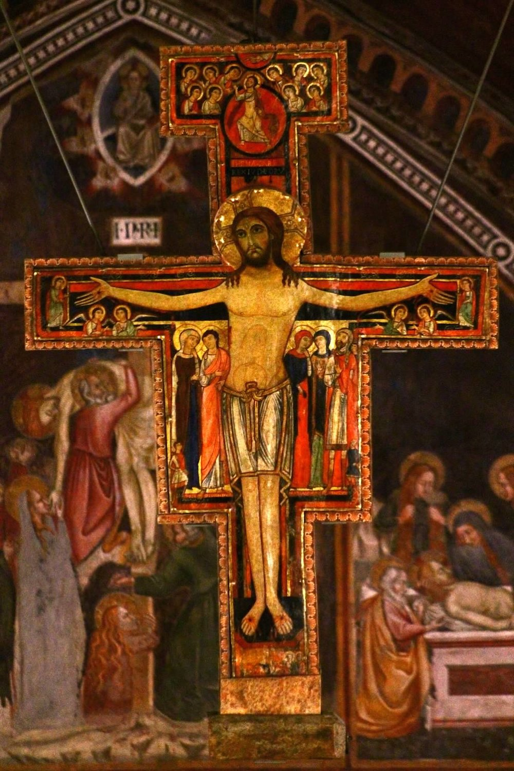 The Cross of San Damiano, hanging in the Basilica of St. Clare of Assisi