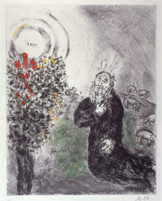 Moses and the Burning Bush (1958), Marc Chagall (The Jewish Museum)