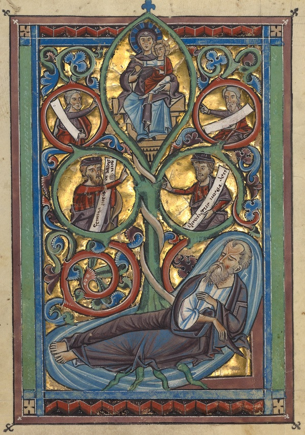 The Tree of Jesse, Unknown Artist (c. 1240, Würzburg, Germany). Image courtesy of the Getty Museum.