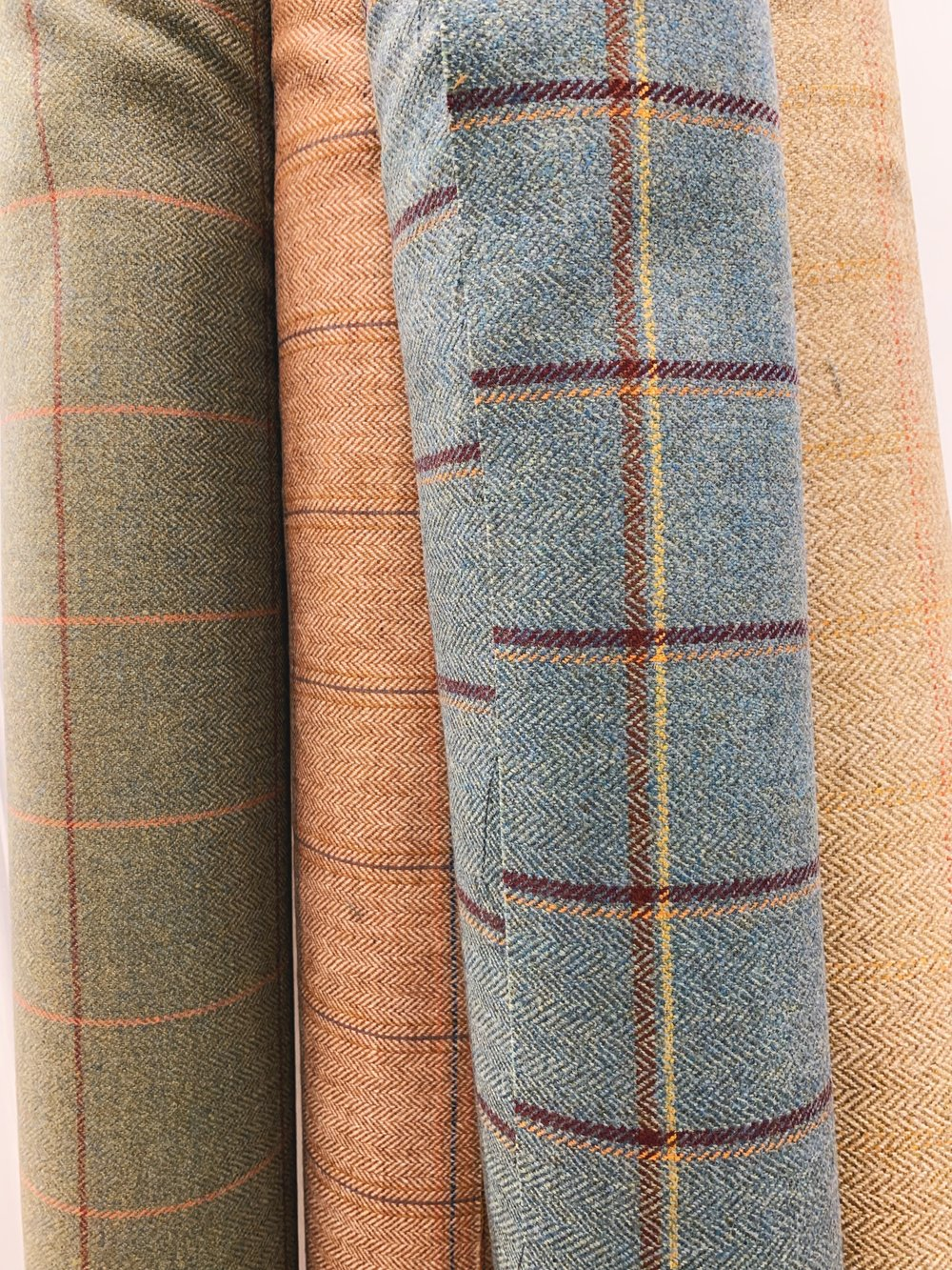 A selection of Windowpane Check Tweeds from Johnstons of Elgin