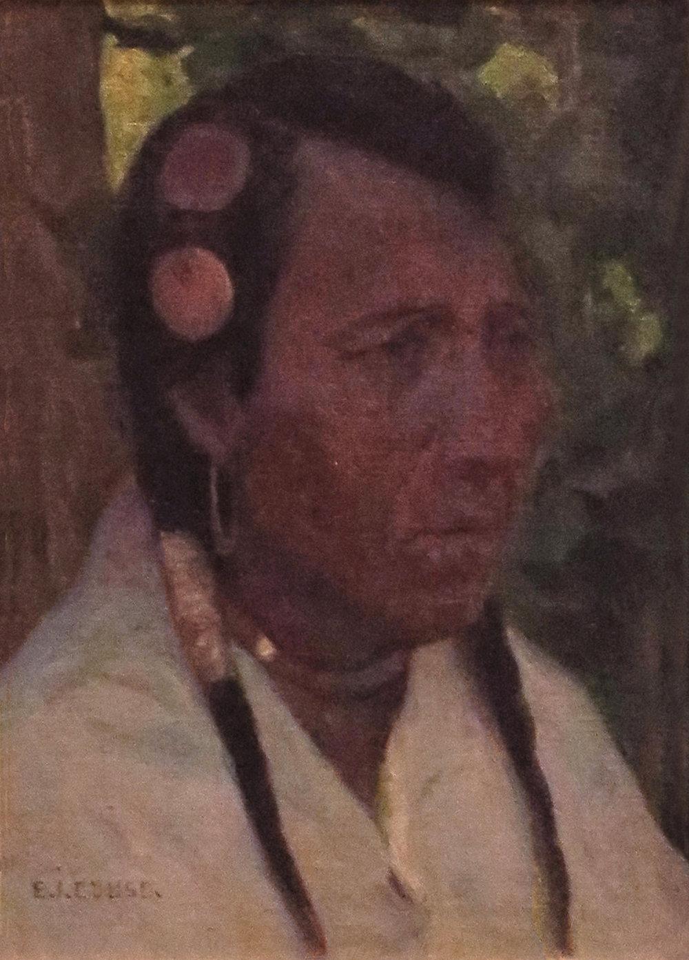 Umatilla Indian Head Portrait, 9 x 6, oil on board