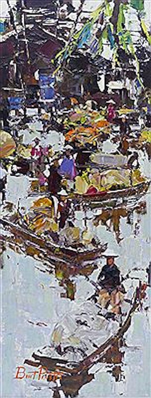 River Vendors, 30 x 12, oil on board