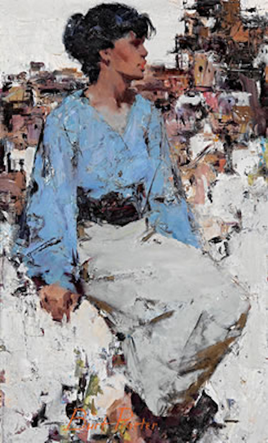 Seated Lady, 26 x 16, oil on board