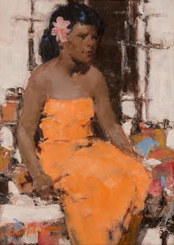 The Orange Dress, 16 x 12, oil on board